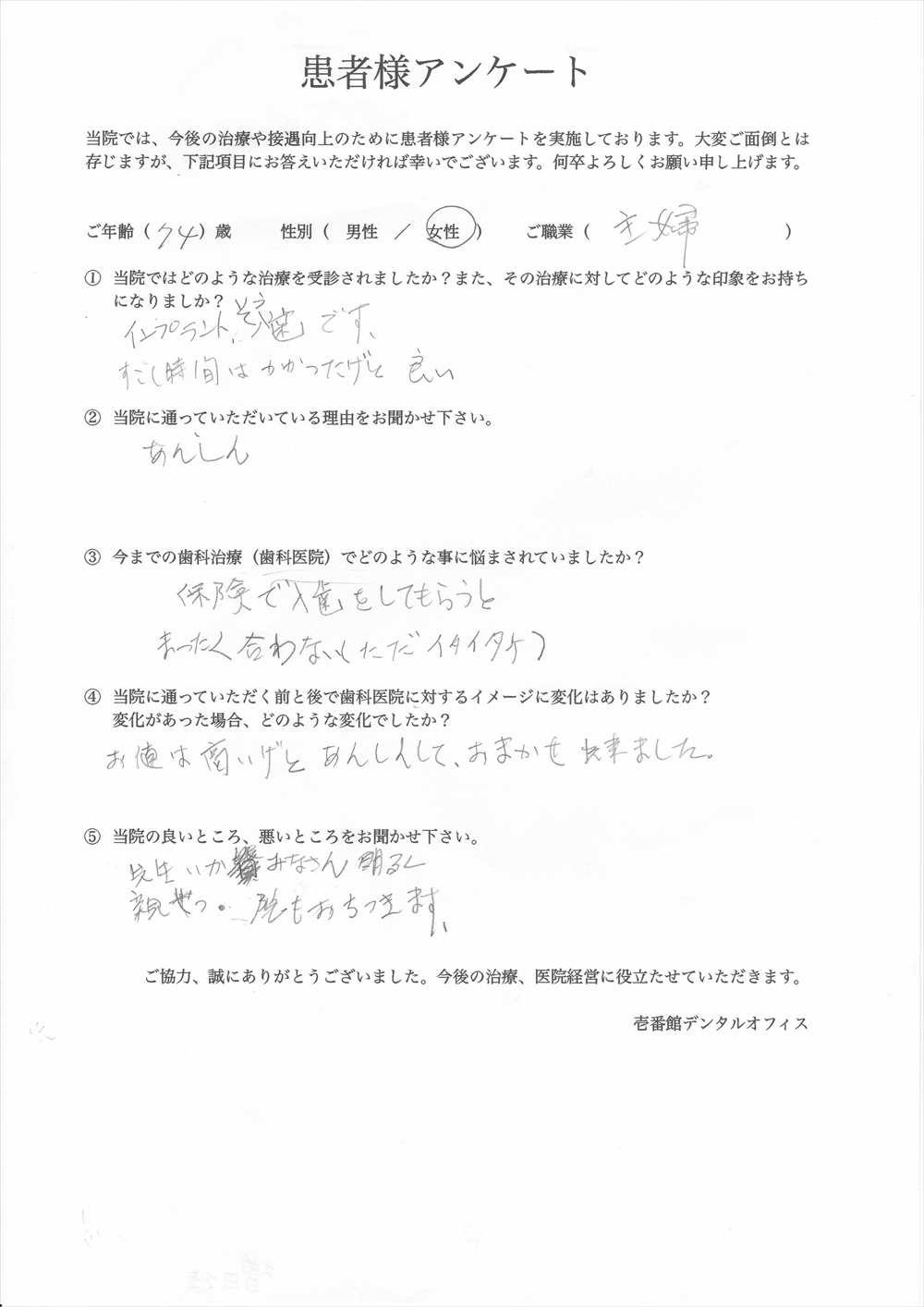 壱番館デンタルオフィス口コミ評判アンケート1