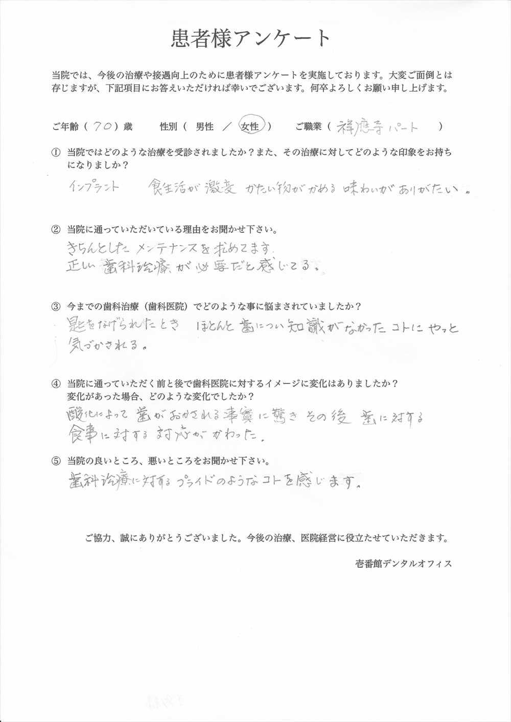 壱番館デンタルオフィス口コミ評判アンケート13