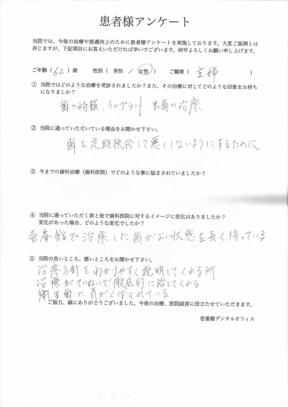 壱番館デンタルオフィス口コミ評判アンケート3