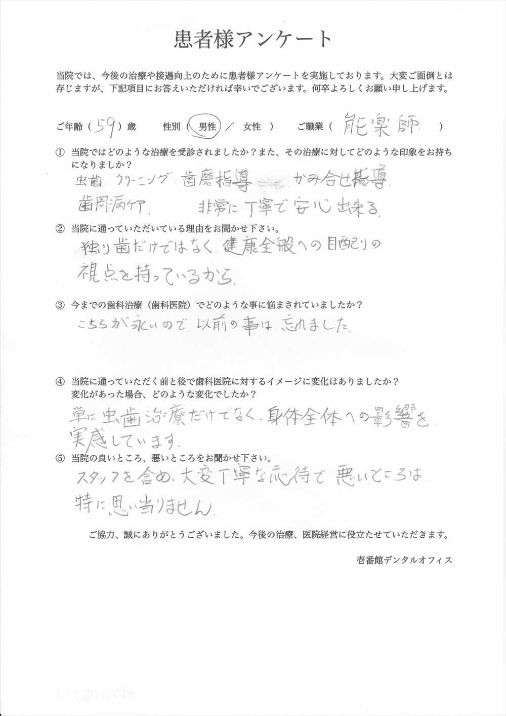 壱番館デンタルオフィス口コミ評判アンケート6