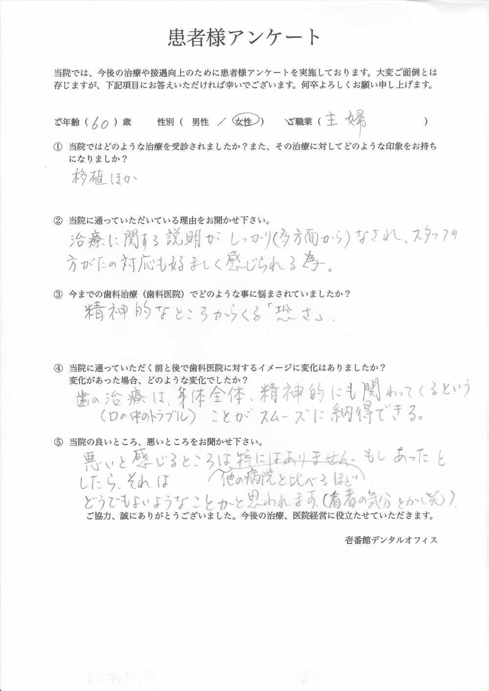 壱番館デンタルオフィス口コミ評判アンケート9